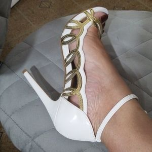 White and Gold elegant heeled sandals